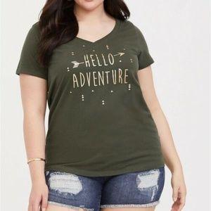 Torrid 5X T Shirt Tee Top Green/Gold Metallic Plus